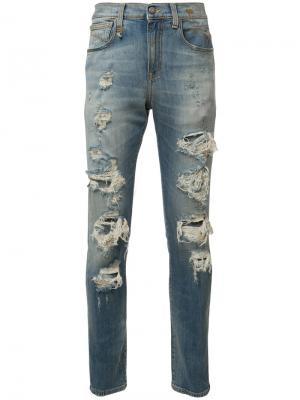 Рваные джинсы кроя скинни R13. Цвет: синий