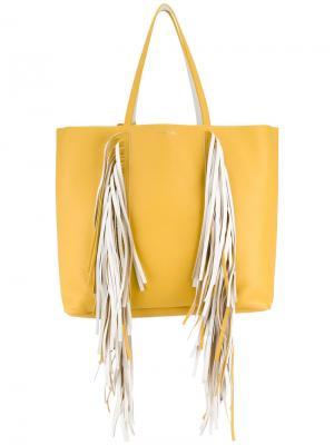 Сумка-шоппер Everyday с бахромой Sara Battaglia. Цвет: жёлтый и оранжевый