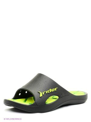 Шлепанцы Rider. Цвет: черный, зеленый