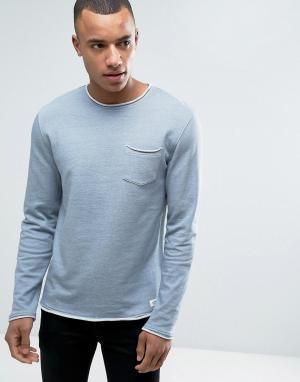 Esprit Свитшот с круглым вырезом и нагрудным карманом. Цвет: синий