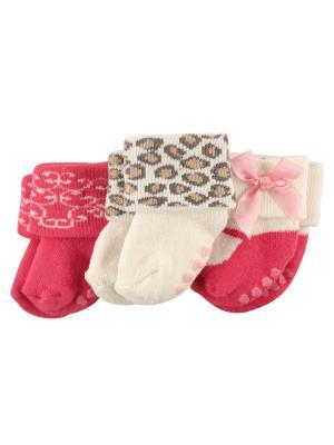Носочки, 3 пары Luvable Friends. Цвет: малиновый