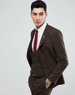 ASOS Светло-коричневый саржевый приталенный пиджак с добавлением шерсти ASO. Цвет: коричневый
