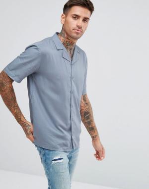 Another Influence Однотонная рубашка с отложным воротником и короткими рукавами. Цвет: синий