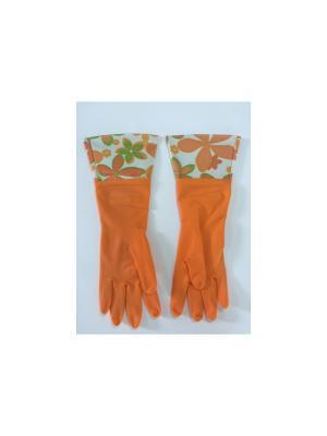 Перчатки латексные Magic Home. Цвет: оранжевый