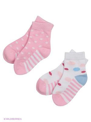 Носки детские трикотажные для девочек, 2 пары в комплекте PlayToday. Цвет: белый, розовый