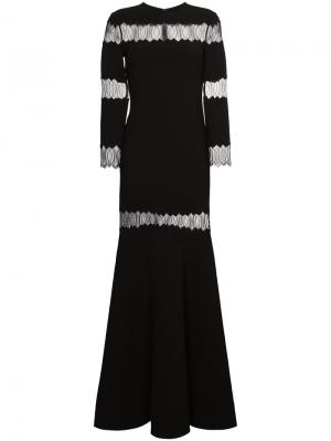 Платье с кружевной вставкой Huishan Zhang. Цвет: чёрный