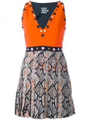 Декорированное платье с эффектом змеиной кожи Fausto Puglisi. Цвет: жёлтый и оранжевый