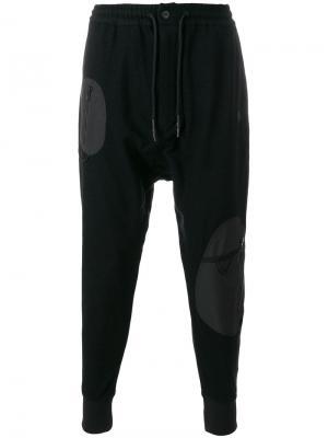 Спортивные брюки с заниженной проймой Y-3. Цвет: чёрный