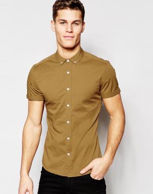 ASOS Саржевая рубашка зауженного кроя с короткими рукавами. Цвет: коричневый