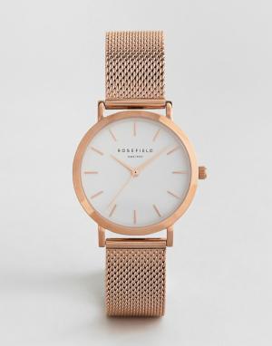 Rosefield Часы с сетчатым ремешком цвета розового золота Tribeca 33 мм. Цвет: золотой