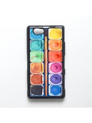 Чехол для Sony Xperia Z1 Compact Акварель с кисточкой Boom Case. Цвет: антрацитовый