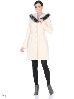 Пальто зимнее Лаура с песцом XP-GROUP. Цвет: молочный