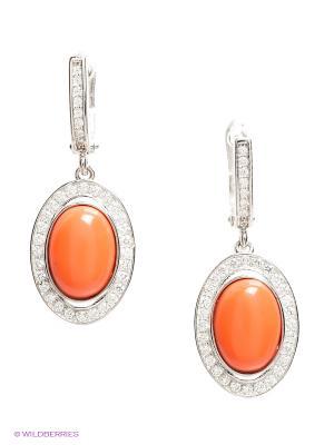 Серьги BALEX. Цвет: серебристый, коралловый, оранжевый