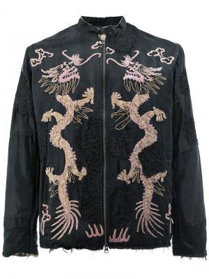 Куртка с вышивкой драконов By Walid. Цвет: чёрный
