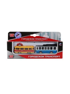 Набор из 2-х металлических моделей Технопарк 7,5см городской транспорт. Цвет: голубой, зеленый