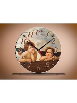 Настенные часы круглые под стеклом  Купидоны 33х33 В892 PROFFI. Цвет: бежевый, белый, серо-голубой, коричневый, светло-бежевый