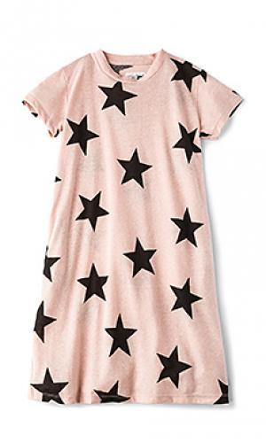 Трапециевидное платье star Nununu. Цвет: розовый