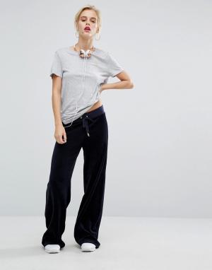 Juicy Couture Велюровые джоггеры с широкими штанинами Malibu. Цвет: темно-синий