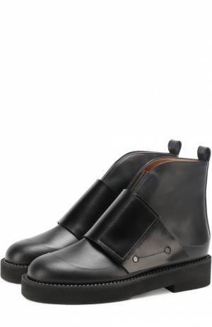 Кожаные ботинки с широким ремешком Marni. Цвет: черный