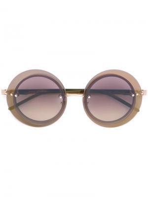 Круглые солнцезащитные очки Loree Rodkin Sama Eyewear. Цвет: зелёный