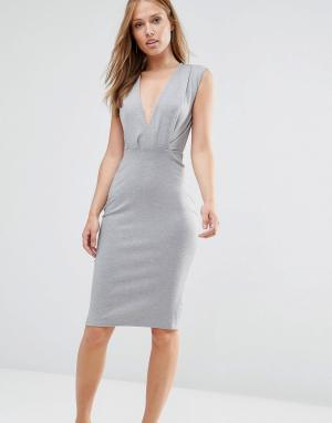 Alter Платье-футляр длины миди с V-образным вырезом. Цвет: серый