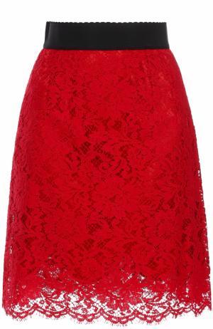 Кружевная мини-юбка с широким поясом Dolce & Gabbana. Цвет: красный