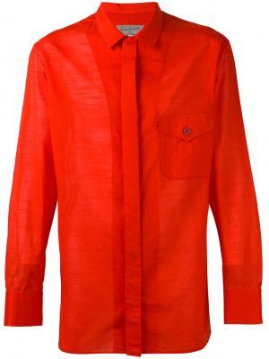 Рубашка с накладным карманом Yohji Yamamoto. Цвет: красный