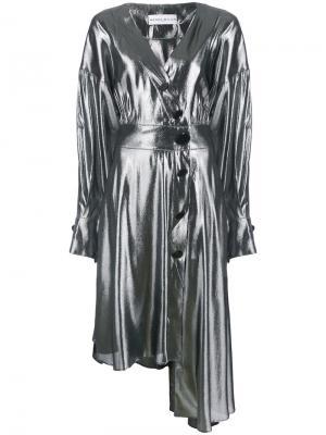 Асимметричное платье на пуговицах Wanda Nylon. Цвет: металлический