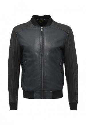 Куртка кожаная Trussardi Jeans. Цвет: синий