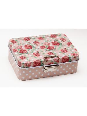 Коробка для безделушек и мелочей Розы Magic Home. Цвет: бледно-розовый, серо-зеленый