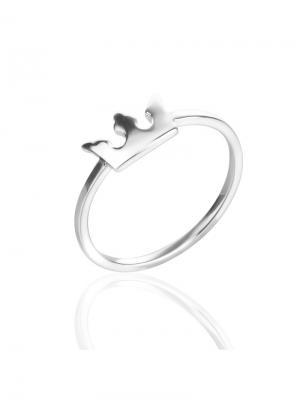 Фаланговое кольцо Корона KU&KU. Цвет: серебристый