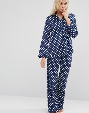 Boux Avenue Пижамный комплект в горошек Natasha. Цвет: синий