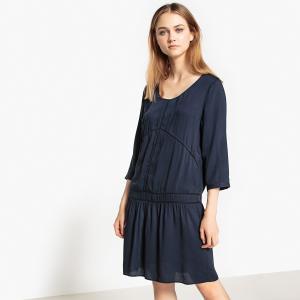 Платье однотонное расклешенного покроя, длина миди, 3/4 SUD EXPRESS. Цвет: темно-синий