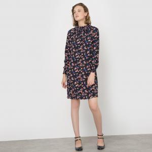 Платье с цветочным принтом небольшим воротником MADEMOISELLE R. Цвет: набивной рисунок