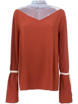 Блузка с расклешенными рукавами N Duo. Цвет: коричневый