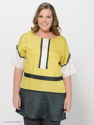 Туника LE MONIQUE. Цвет: желтый, молочный, темно-серый