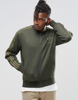 Adidas Originals Спортивная куртка B10720. Цвет: зеленый