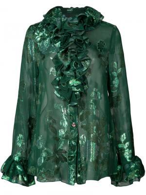 Рубашка с рюшами и цветочным принтом Anna Sui. Цвет: зелёный