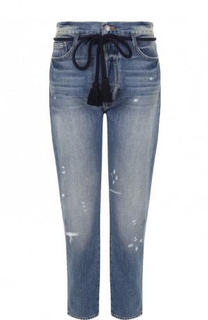 Укороченные джинсы с потертостями Frame Denim. Цвет: голубой