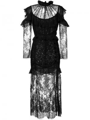 Платье с оборками Alessandra Rich. Цвет: чёрный