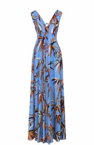 Шелковое платье-макси с ярким принтом Emilio Pucci. Цвет: голубой
