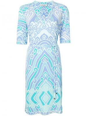 Платье с V-образным вырезом принтом Leonard. Цвет: синий