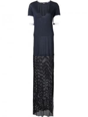 Платье-футболка с сетчатой панелью Musée. Цвет: синий