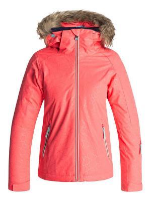 Куртка ROXY. Цвет: коралловый, коричневый