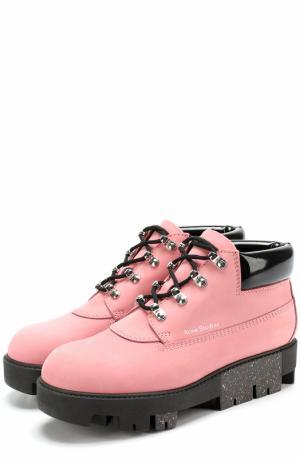 Ботинки из нубука на подошве с глиттером Acne Studios. Цвет: розовый