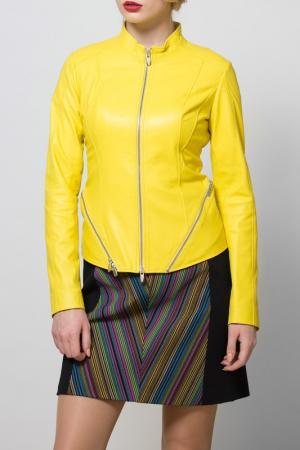 Куртка кожаная SUSSEX. Цвет: желтый