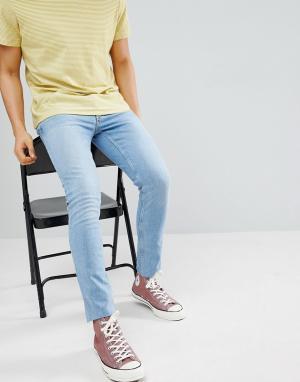 River Island Голубые джинсы скинни с необработанными краями. Цвет: синий