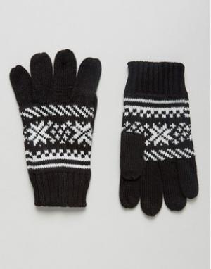 7X Перчатки с узором Фэйр-Айл. Цвет: черный