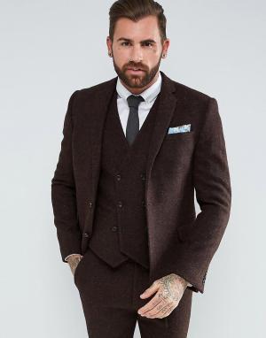 ASOS Коричневый пиджак узкого кроя из 100% шерстяного харрис-твида с узором. Цвет: коричневый