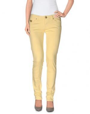 Повседневные брюки DUCK FARM. Цвет: светло-желтый